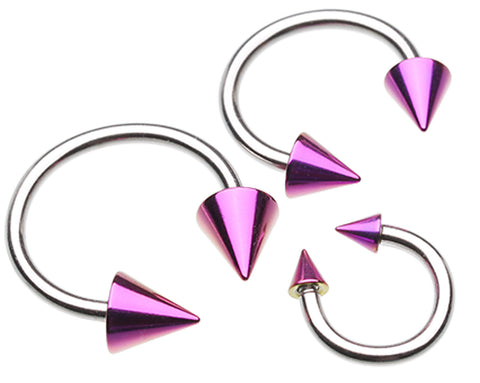 "Colorline PVD Spike Ends 316L Surgical Steel Horseshoe Circular Barbell - 14 GA (1.6mm) - Ball Size: 1/4"" (6mm) - Purple - Sold as a Pair"