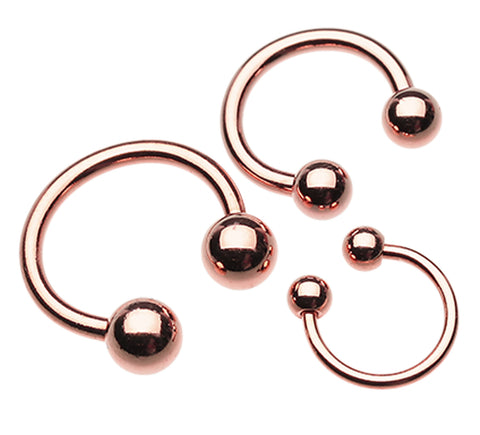 "Rose Gold Plated Horseshoe Circular Barbell - 18 GA (1mm) - Ball Size: 1/8"" (3mm) - Sold as a Pair"