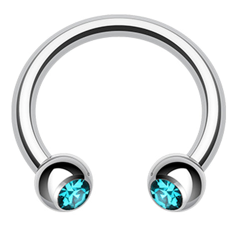 "Glass-Gem Ball 316L Surgical Steel Horseshoe Circular Barbell - 14 GA (1.6mm) - Ball Size: 5/32"" (4mm) - Teal - Sold as a Pair"