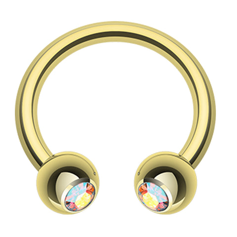 "Gold Plated Glass-Gem Ball Horseshoe Circular Barbell - 14 GA (1.6mm) - Ball Size: 3/16"" (5mm) - Aurora Borealis - Sold as a Pair"