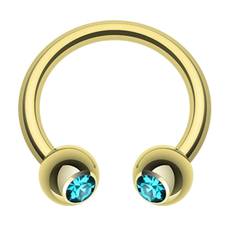 "Gold Plated Glass-Gem Ball Horseshoe Circular Barbell - 16 GA (1.2mm) - Ball Size: 5/32"" (4mm) - Teal - Sold as a Pair"