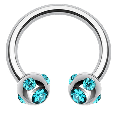 "Aurora Glass-Gem Ball 316L Surgical Steel Horseshoe Circular Barbell - 16 GA (1.2mm) - Ball Size: 5/32"" (4mm) - Teal - Sold as a Pair"