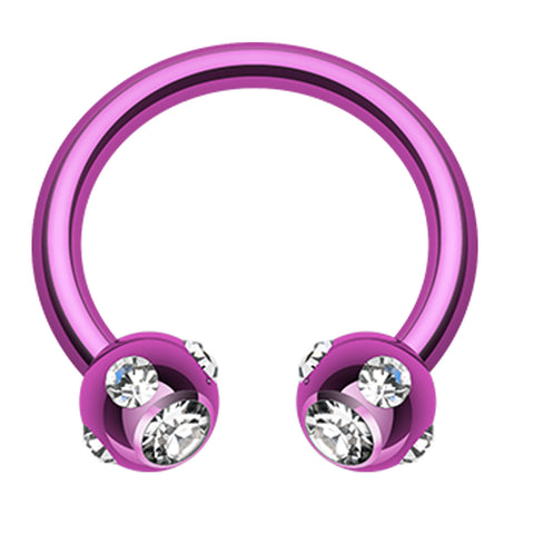 "Blackline PVD Aurora Glass-Gem Ball Horseshoe Circular Barbell - 14 GA (1.6mm) - Ball Size: 5/32"" (4mm) - Purple/Clear - Sold as a Pair"