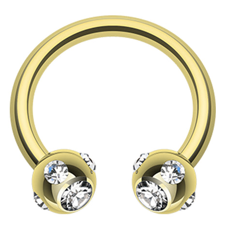 "Gold Plated Aurora Glass-Gem Ball Horseshoe Circular Barbell - 16 GA (1.2mm) - Ball Size: 1/8"" (3mm) - Clear - Sold as a Pair"