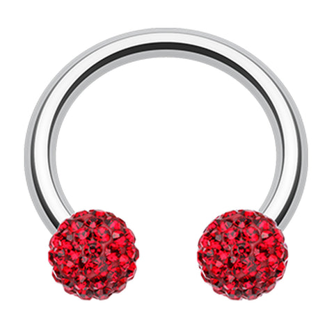 "Sparkling Multi Glass-Gem Horseshoe Circular Barbell - 14 GA (1.6mm) - Ball Size: 5/32"" (4mm) - Red - Sold as a Pair"