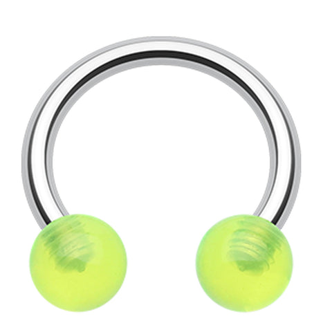 "UV Acrylic Horseshoe Circular Barbell - 16 GA (1.2mm) - Ball Size: 5/32"" (4mm) - Green - Sold as a Pair"