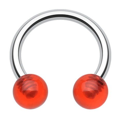 "UV Acrylic Horseshoe Circular Barbell - 14 GA (1.6mm) - Ball Size: 3/16"" (5mm) - Red - Sold as a Pair"