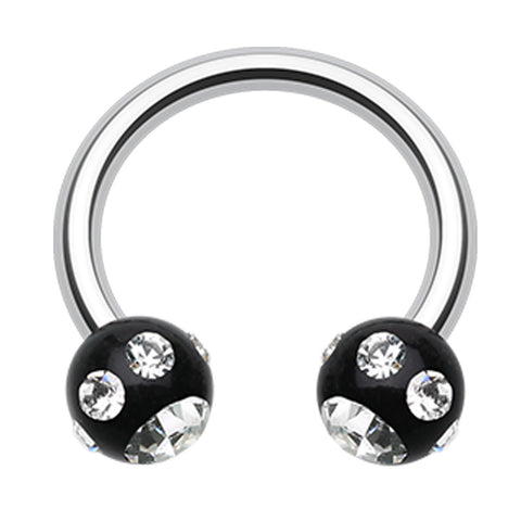 "Aurora Glass-Gem Ball Acrylic Horseshoe Circular Barbell - 16 GA (1.2mm) - Ball Size: 1/8"" (3mm) - Black/Clear - Sold as a Pair"