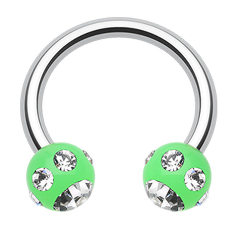 "Aurora Glass-Gem Ball Acrylic Horseshoe Circular Barbell - 14 GA (1.6mm) - Ball Size: 3/16"" (5mm) - Green/Clear - Sold as a Pair"