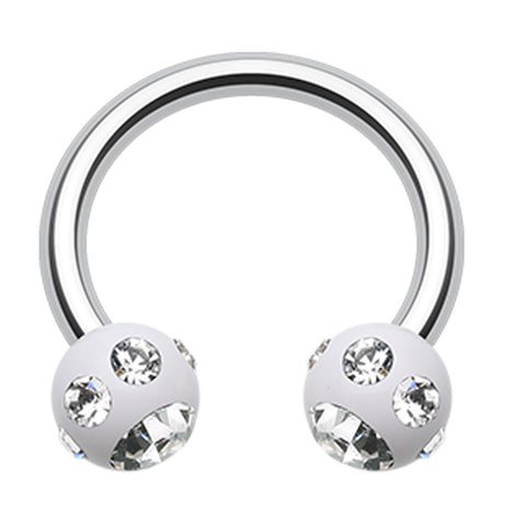 "Aurora Glass-Gem Ball Acrylic Horseshoe Circular Barbell - 14 GA (1.6mm) - Ball Size: 5/32"" (4mm) - White/Clear - Sold as a Pair"