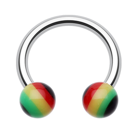 "Rasta Jamaican Stripe Acrylic Horseshoe Circular Barbell - 14 GA (1.6mm) - Ball Size: 3/16"" (5mm) - Sold as a Pair"