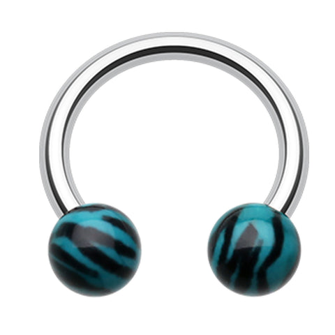 Tiger Stripe Print Acrylic Horseshoe Circular Barbell - 16 GA (1.2mm) - Teal - Sold as a Pair