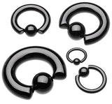 "Colorline PVD 316L Surgical Steel Captive Bead Ring - 0 GA (8mm) - Ball Size: 3/8"" (10mm) - Black - Sold as a Pair"