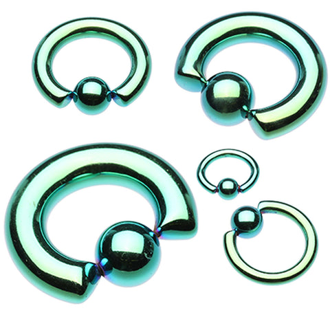 "Colorline PVD 316L Surgical Steel Captive Bead Ring - 0 GA (8mm) - Ball Size: 1/2"" (12mm) - Green - Sold as a Pair"