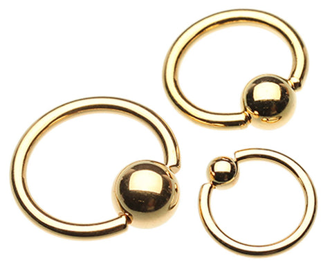 "Gold Plated Captive Bead Ring - 6 GA (4mm) - Ball Size: 9/32"" (7mm) - Sold as a Pair"