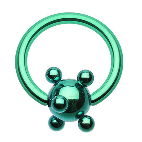 "Colorline PVD Studded Ball Captive Bead Ring - 16 GA (1.2mm) - Ball Size: 5/32"" (4mm) - Green - Sold as a Pair"