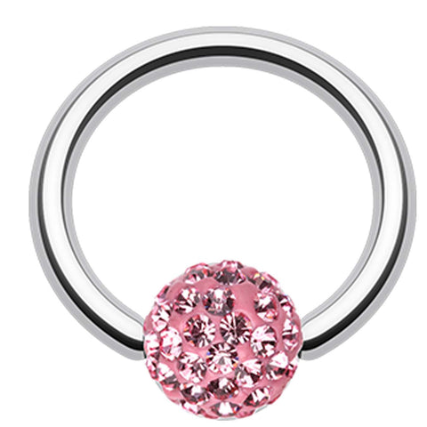 "Sparkling Multi Glass-Gem Captive Bead Ring - 14 GA (1.6mm) - Ball Size: 3/16"" (5mm) - Light Pink - Sold as a Pair"