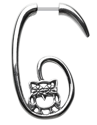 Groovy Owl 316L Surgical Steel Fake Hanging Taper