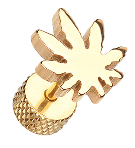 Golden Colored Pot Leaf 316L Surgical Steel Fake Plug