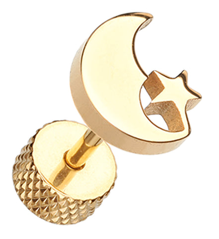 Golden Colored Crescent Moon & Star 316L Surgical Steel Fake Plug