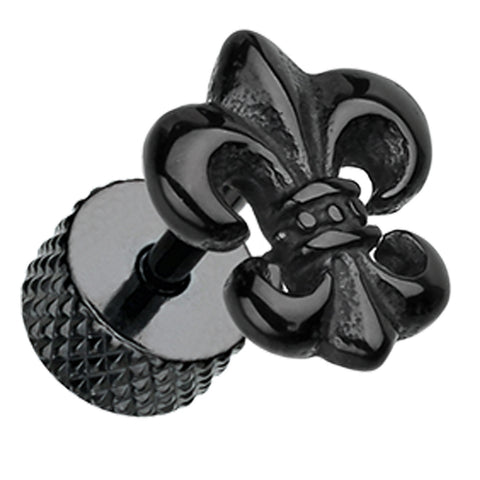 Blackline Fleur De Lis 316L Surgical Steel Fake Plug