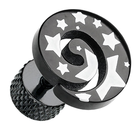 Blackline Star Print Spiral Top 316L Surgical Steel Fake Plug