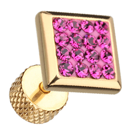 "Golden Colored Square Sparkling Multi Glass-Gem 316L Surgical Steel Fake Plug - 16 GA (1.2mm) - Ball Size: 3/8"" (9mm) - Fuchsia - Sold as a Pair"