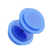 "Neon Acrylic Fake Plug with O-Rings - 16 GA (1.2mm) - Ball Size: 3/8"" (10mm) - Blue - Sold as a Pair"