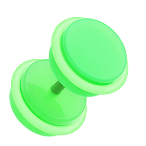 "Neon Acrylic Fake Plug with O-Rings - 16 GA (1.2mm) - Ball Size: 3/8"" (10mm) - Green - Sold as a Pair"
