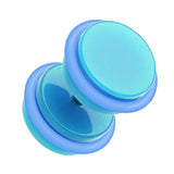 "Neon Acrylic Fake Plug with O-Rings - 16 GA (1.2mm) - Ball Size: 3/8"" (10mm) - Light Blue - Sold as a Pair"