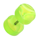 "Marbled Swirl UV Acrylic Fake Plug - 16 GA (1.2mm) - Ball Size: 5/16"" (8mm) - Green/White - Sold as a Pair"
