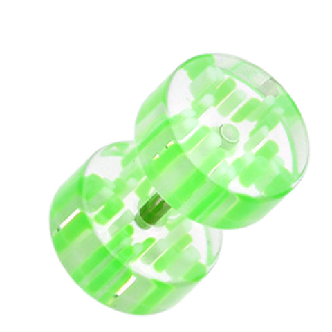 "Pin Stripe UV Acrylic Fake Plug - 16 GA (1.2mm) - Ball Size: 5/16"" (8mm) - Green - Sold as a Pair"