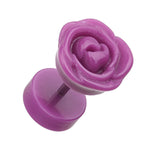 Rose Blossom Acrylic Fake Plug - 16 GA (1.2mm) - Purple - Sold as a Pair