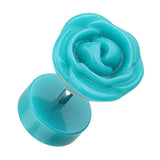 Rose Blossom Acrylic Fake Plug - 16 GA (1.2mm) - Teal - Sold as a Pair