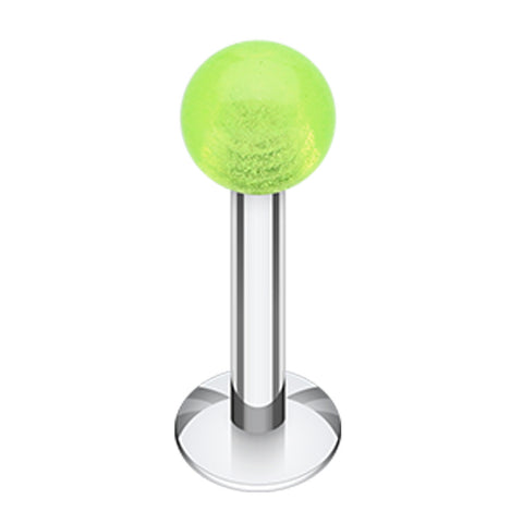 "Glow in the Dark UV Acrylic Ball Top Labret - 16 GA (1.2mm) - Ball Size: 1/8"" (3mm) - Light Green - Sold as a Pair"