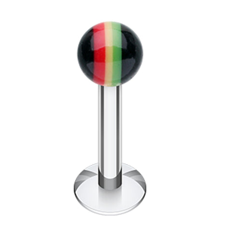 "Rasta Jamaican Stripe UV Acrylic Ball Top Labret - 16 GA (1.2mm) - Ball Size: 1/8"" (3mm) - Sold as a Pair"
