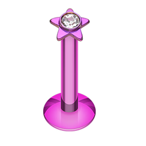 Colorline Sparkle Star Top Internally Threaded Labret - 16 GA (1.2mm) - Purple/Clear - Sold as a Pair