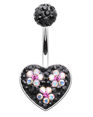 Dark Blossom Heart Crystal Sparkling Belly Button Ring - 14 GA (1.6mm) - Black/Aurora Borealis - Sold Individually