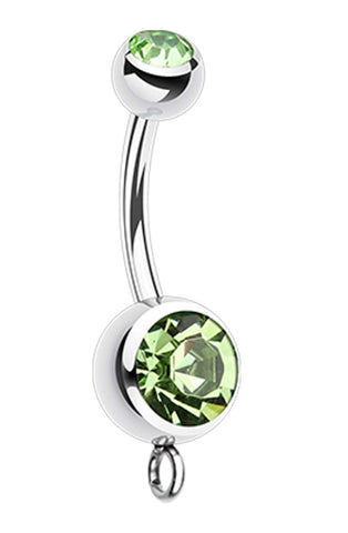316L Surgical Steel 'Add-On Dangle' Glass-Gem Ball Belly Button Ring - 14 GA (1.6mm) - Light Green - Sold Individually