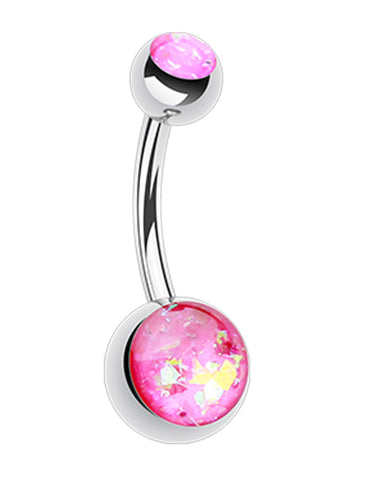 "Opalescent Glitter Shower Belly Button Ring - 14 GA (1.6mm) - Ball Size: 3/16x5/16"" (5x8mm) - Pink - Sold Individually"