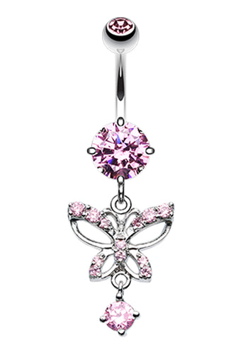 Alluring Butterfly Belly Button Ring - 14 GA (1.6mm) - Pink - Sold Individually