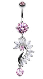 Curved Marquise Cut Sparkles Belly Button Ring - 14 GA (1.6mm) - Pink - Sold Individually