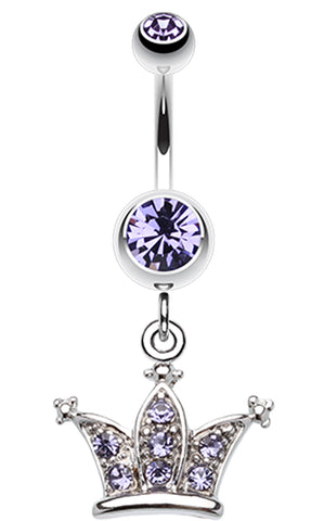 Shimmering Regal Crown Belly Button Ring - 14 GA (1.6mm) - Blue - Sold Individually