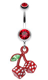 Vibrant Cherry Dice Belly Button Ring - 14 GA (1.6mm) - Red - Sold Individually