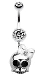 Adorable Skull Hair Bow Belly Button Ring - 14 GA (1.6mm) - Clear - Sold Individually