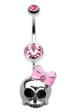 Adorable Skull Hair Bow Belly Button Ring - 14 GA (1.6mm) - Light Pink - Sold Individually