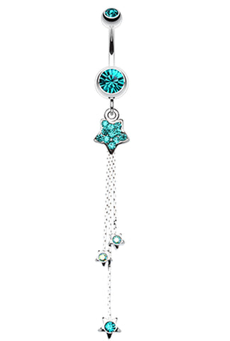 Delicate Star Sparkles Belly Button Ring - 14 GA (1.6mm) - Teal - Sold Individually