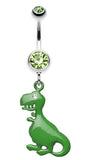 Vibrant Dinosaur Belly Button Ring - 14 GA (1.6mm) - Light Green - Sold Individually