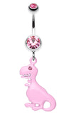Vibrant Dinosaur Belly Button Ring - 14 GA (1.6mm) - Light Pink - Sold Individually