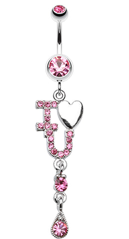 I Heart You Sparkle Belly Button Ring - 14 GA (1.6mm) - Pink - Sold Individually